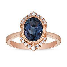 14K Rose Gold Oval Blue Topaz and Round Diamond Milgrain Scalloped Edge Ring