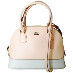 Pre-owned Coach Bicolor Crossgrain Mini Cora Dome Apricot Orange And... ($100) ❤ liked on Polyvore featuring bags, handbags, apricot orange and chalk, coach purses, miniature purse, dome satchel, pink purse and pink bag