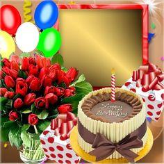 Birthday Card With Photo, Birthday Photo Frame, Happy Birthday Frame, Happy Birthday Pictures, Birthday Frames, Happy Birthday Greeting Card, Happy Birthday Messages, Birthday Board, Happy Birthday Flower Cake