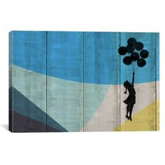 Sky High Flying Balloons Girl Canvas Print with Pinewood Stretcher Bars and Hanging Accessories, Multi