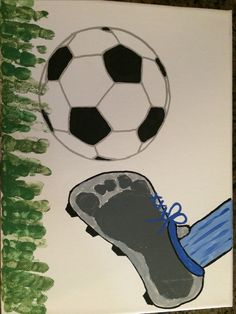 Footprint for soccer theme. Outlined a ball onto canvas and then painted. Use green fingerprints for grass. Use paint pens for straighter lines.