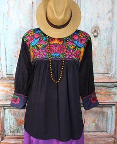 Black & Blue Blouse - Quetzal Birds, Mayan Chiapas Mexico Hippie Santa Fe Boho #Handmade #blouse