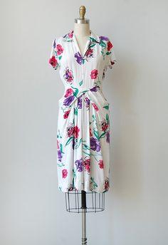 vintage 1940s vivid floral dress | CASSIS ET VIOLA DRESS