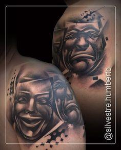 #tattoo #tattoos #blackandgrey #blackandgreytattoo #theatre #theater #masks #teatro #máscaras #brush #inked #like4like #instadaily #instagram #inkstagram #bestoftheday #tattoomag #tattoomagazine #tattooart #art #creative #amazingink #tattoolife #tatouage #tatuagem #tattooartist #humbertosilvestre
