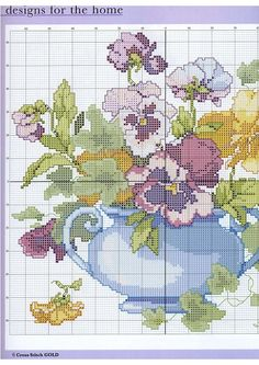 Bouquet of flowers cross stitch pattern (page1). See page 2 for continued pattern and color chart.