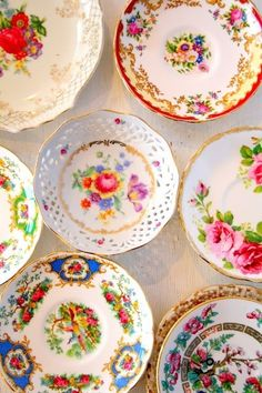 Vintage dishes. Have one just like the floral design in the middle.