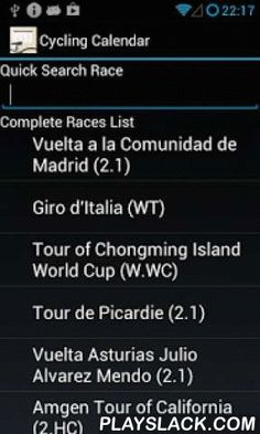 Cycling Calendar 2015  Android App - playslack.com , Cycling Calendar is a simple application that will help you to easily view UCI cycling events during the year, view a race detail and add the race as a reminder in a calendar in order to be informed of the upcoming events and never miss a race.Features:- contains detail about all important cycling events in the current year;- quickly search a race;- view events grouped by the month in which they start;- view details about a race(location…