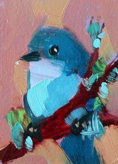 Mountain Bluebird no. 123 Original Bird Oil Painting by Angela Moulton ACEO Art #Impressionism
