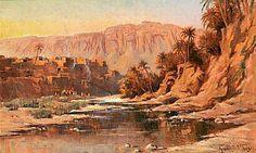 Peinture d'Algérie - Peintre Français, Leon Geille de Saint Leger, (1864-1937), Huile sur toile, Titre : L'oued au bas du village.