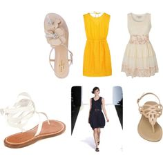 summer dress and sandals, created by liannn on Polyvore