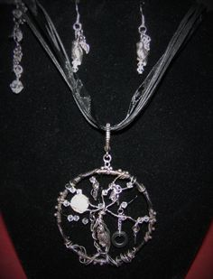 Handmade, owl and crystal necklace and earring set