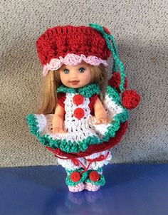 Crocheted Dress Fits The 4 1/2 dolls (Kelly Doll And Same Size)
