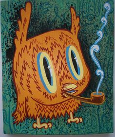 """""""Orange the Owl"""" A cute puffing owl. :3 This artist likes to create images of animals smoking pipes. Interesting."""
