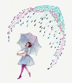 Items similar to 15 growing rain BUY 2 prints  and get 1 FREE, sale, girl with umbrella, size 8x10 print-growing rain on Etsy