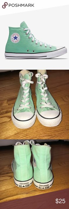 High top mint green Converse Traditional spring time colored mint green Converse sneakers, rarely worn. Converse Shoes Sneakers