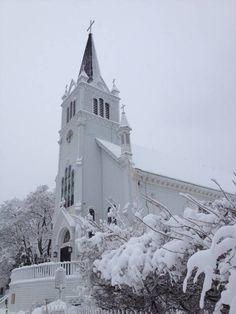 St. Anne's Catholic Church. Winter on Mackinac Island. Photo on Mackinac Mommy: March 2012