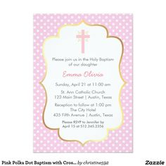 Pink Polka Dot Baptism with Cross and Gold Border 5x7 Paper Invitation Card