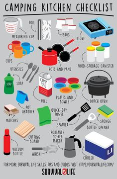 Here's a camping kitchen checklist for your next trip. #campingchecklist #campfire #camping #survivaltips #survival #survivallife Survival Blog, Survival Life, Survival Gear, Survival Skills, Survival Hacks, Camping Lunches, Tent Camping, Camping Hacks, Camping Checklist