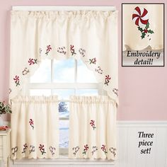 Candy Cane Tier and Valance Curtain Set