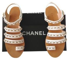 71885210d1e6 White 2013 Cc Logo Chain Toe Ring Gladiator Flat 37.5 Sandals
