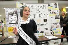 Kennedy Schreck tells about Susan B. Anthony's campaign for women's right to vote at Kuemper Catholic Grade School fifth-graders' wax museum.