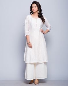 Silk CottonChikankari EmbroideryMukaish WorkRound Neck with Loop Buttons3Q SleevesDry Clean Only