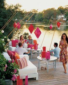 "Fun spring/summer outdoor decor - DIY - Origami Lanterns ~ ""Asian-inspired lanterns will softly enlighten your outdoor gathering."""