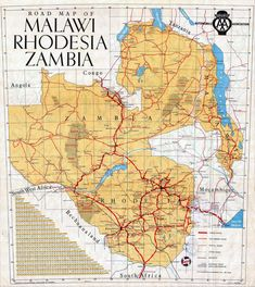 Zambia is a country in the continent of Africa. It is located in the southern part of Africa and is a medium sized country. Zambia is known for the beautiful Victoria Falls and its tourist attractions. Africa Map, Out Of Africa, East Africa, African History, Cartography, Map Art, Travel Posters, Continents, Tanzania