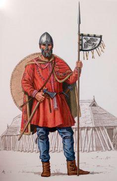 """Kriger baseret på Mammengraven fra Midtjylland. Hjelmen er dog fra Wenceslasgraven i Prag. Sidste halvdel af 900tallet.  Efter """"Vikinger i krig""""."""