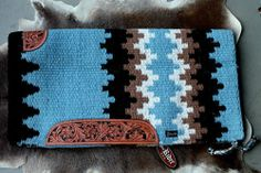 Wool Western Show Trail Horse SADDLE BLANKET Rodeo Pad Blue Brown 41088