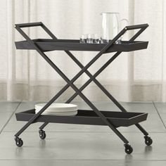 Shop Hobbs Bar Cart.   The Hobbs Bar Cart is a Crate and Barrel exclusive.