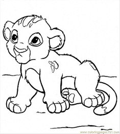 Baby Lion Coloring Pages Printable | free printable coloring page Baby Simba (Cartoons > The Lion King)