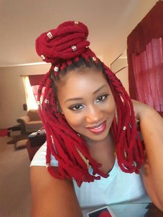 Red yarn braids