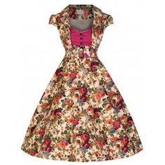 'Geneva' Beige Floral Print Tailored Rockabilly Swing Dress