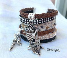 bracelet Manchette très large Véritable tissu Liberty étoilé beige pour femme simili cuir tressé Les : Bracelet par libertylily