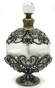 Black and White Frosted Perfume Bottle...