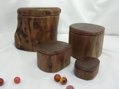 Black Walnut Branch Set of Four Wooden Boxes, nesting boxes, family gifts, cremation urns, memory box, wooden jewelry boxes, anniversary by earnestefforts on Etsy