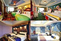 Tokyo Disneyland Hotel will have Disney character-themed rooms available for guests! Clockwise from top left: Tinkerbell's Neverland room; an Alice in Wonderland room; and Beauty & the Beast room