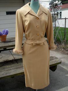 Vintage 40s Moordale Camel Wool Mink Sleeves Jacket Pencil Skirt 2 Piece Outfit | eBay