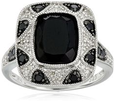 Sterling Silver Onyx and Diamond (0.13cttw, I-J Color, I2-I3 Clarity) Ring, Size 7