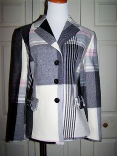 Les Copaines Wool Blend Plaid Blazer with Belted Pockets Size 46 Italy | eBay