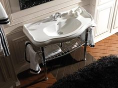 WS Bath Collections Retro Ceramic 34 Console Bathroom Sink with Overflow Faucet Drilling: Single Hole Bathroom Sink Units, Modern Bathroom Sink, Undermount Bathroom Sink, Small Bathroom Storage, White Bathroom, Bathrooms, Bathroom Ideas, Bathroom Stand, Bath Ideas