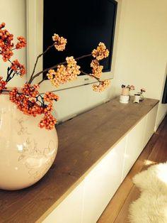 Foto: tv meubel Ikea besta met steigerhouten plank. Geplaatst door Bianca2 op Welke.nl