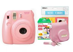 Fuji Instax Mini 8 Pink Bundle inc. Pink Camera, Case Strap, Love Cards & 20 Pk Film