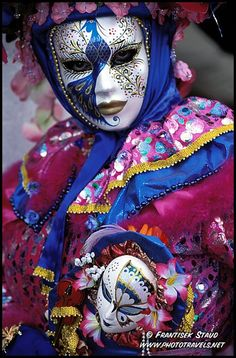 Photograph of Close-up portrait of Carnival Mask in Venice, Italy photo