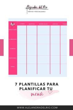 7 Plantillas para planificar el menú semanal #menusemanal #plantilla #planificar #perderpeso #mealprep