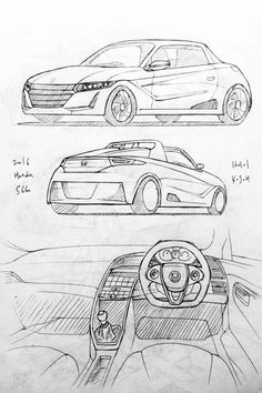 Car drawing 160101.  2016 Honda S660.   Prisma on paper.  Kim.J.H