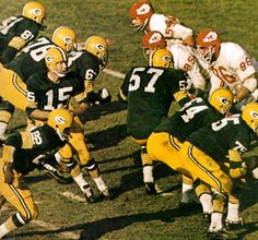 ❖ January 15, 1967 ❖ At the Los Angeles Coliseum, the Green Bay Packers beat the Kansas City Chiefs in the first-ever world championship game of American football. In that historic first game--played before a non-sell-out crowd of 61,946 people--Green Bay scored three touchdowns in the second half to defeat Kansas City 35-10. For their win, each member of the Packers collected $15,000: the largest single-game share in the history of team sports.