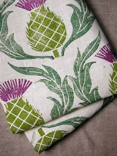 Items similar to Set of 3 Rustic Scottish Thistle hand block printed linen tea towels on Etsy Scottish Thistle, Scottish Decor, Printed Linen, Natural Linen, Hostess Gifts, Tea Towels, Dish Towels, Printing On Fabric, Block Print Fabric