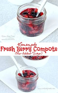 Fresh Berry fruit compote with no added sugar can be made a day to two in advance. Serve fresh berry compote for breakfast or add to a dessert buffet. Cherry Compote, Strawberry Compote, Blueberry Compote, Fruit Compote, Fruit Sauce, Berry Sauce, Sugar Free Fruits, Sugar Free Desserts, Compote Recipe